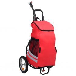stradeXL Składana przyczepka rowerowa z torbą na zakupy, czerwono-czarna