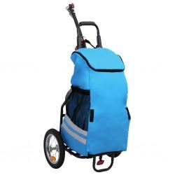 stradeXL Składana przyczepka rowerowa z torbą na zakupy niebiesko-czarna