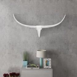 Srebrna ozdoba ściany bycze rogi z aluminium 96 cm