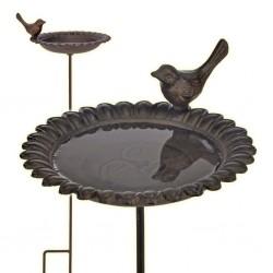 HI Żeliwny basenik/poidełko dla ptaków, brązowy