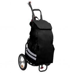 stradeXL Składana przyczepka rowerowa z torbą na zakupy, czarna