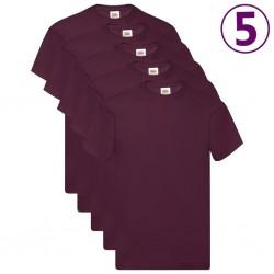 Fruit of the Loom Oryginalne T-shirty, 5 szt., burgund, L, bawełna