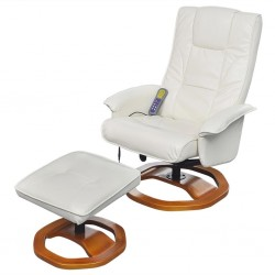 stradeXL Massage Chair with Footstool White Faux Leather