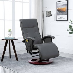 stradeXL Massage Chair Grey Faux Leather