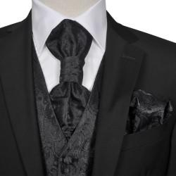 Męska kamizelka ślubna z kwiatowym wzorem w zestawie rozm. 52 Czarna