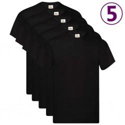 Fruit of the Loom Oryginalne T-shirty, 5 szt., czarne, S, bawełna
