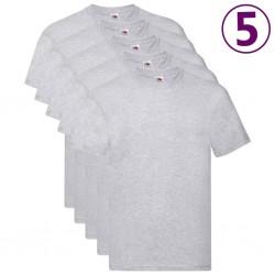 Fruit of the Loom Original T-shirts 5 pcs Grey 3XL Cotton