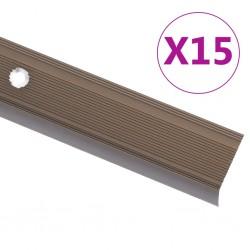stradeXL Profile schodowe, kształt L, 15 szt., aluminium, 100 cm, brąz