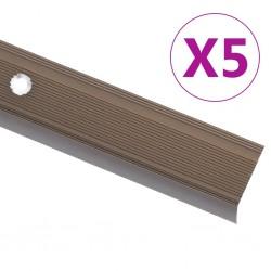 stradeXL Profile schodowe, kształt L, 5 szt., aluminium, 134 cm, brązowe