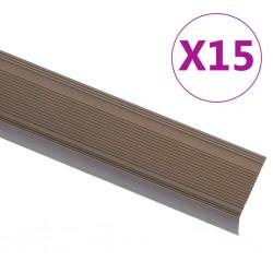 stradeXL Profile schodowe, kształt L, 15 szt., aluminium, 134 cm, brąz