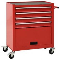 stradeXL Wózek narzędziowy z 4 szufladami, stalowy, czerwony