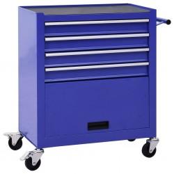 stradeXL Wózek narzędziowy z 4 szufladami, stalowy, niebieski