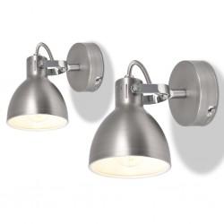 stradeXL Lampy ścienne, 2 sztuki, na 2 żarówki E14, kolor szary