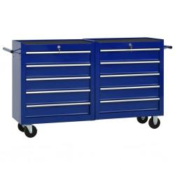 stradeXL Wózek narzędziowy z 10 szufladami, stalowy, niebieski