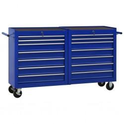 stradeXL Wózek narzędziowy z 14 szufladami, stalowy, niebieski
