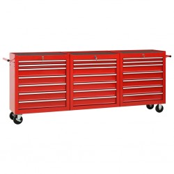 stradeXL Wózek narzędziowy, 21 szuflad, stalowy, czerwony