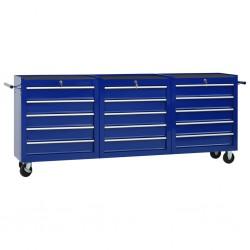 stradeXL Wózek narzędziowy z 15 szufladami, stalowy, niebieski