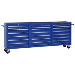stradeXL Wózek narzędziowy, 21 szuflad, stalowy, niebieski