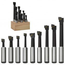 stradeXL Zestaw 9 noży typu wytaczak, 12 mm, z drewnianą podstawą