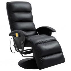 stradeXL TV Massage Recliner Black Faux Leather