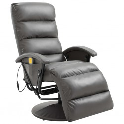 stradeXL TV Massage Recliner Grey Faux Leather