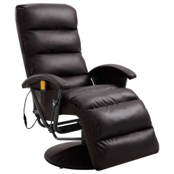 stradeXL TV Massage Recliner Brown Faux Leather