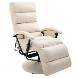 stradeXL TV Massage Recliner Cream Faux Leather