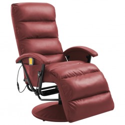 stradeXL TV Massage Recliner Wine Red Faux Leather