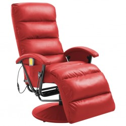stradeXL TV Massage Recliner Red Faux Leather