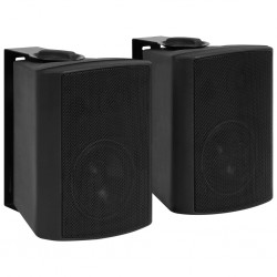 stradeXL Wall-mounted Stereo Speakers 2 pcs Black Indoor Outdoor 80 W