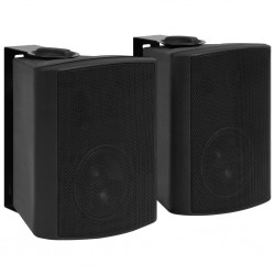 stradeXL Wall-mounted Stereo Speakers 2 pcs Black Indoor Outdoor 100 W