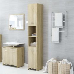 stradeXL Bathroom Cabinet Sonoma Oak 30x30x183.5 cm Chipboard