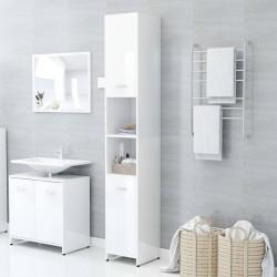 stradeXL Szafka łazienkowa, biała, wysoki połysk, 30x30x183,5 cm, płyta