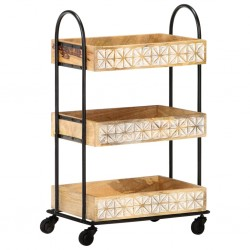stradeXL 3-poziomowy wózek kuchenny, 46x30x76 cm, lite drewno mango