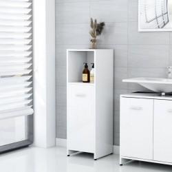 stradeXL Szafka łazienkowa, biała, wysoki połysk, 30x30x95 cm, płyta