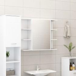stradeXL Szafka łazienkowa z lustrem, biała, 80 x 20,5 x 64 cm, płyta