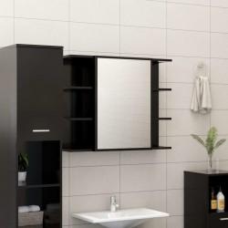 stradeXL Szafka łazienkowa z lustrem, czarna, 80 x 20,5 x64 cm, płyta