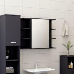 stradeXL Szafka łazienkowa z lustrem, szara, 80 x 20,5 x 64 cm, płyta