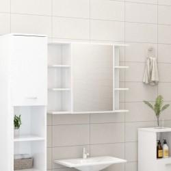 stradeXL Szafka z lustrem, wysoki połysk, biała, 80x20,5x64 cm, płyta