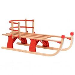 stradeXL Składane sanki z oparciem, 110 cm, drewniane