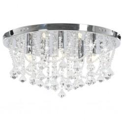 stradeXL Lampa sufitowa z kryształkami i koralikami, srebrna, okrągła