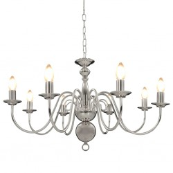 stradeXL Chandelier Silver 8 x E14 Bulbs