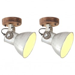 stradeXL Industrial Wall/Ceiling Lamps 2 pcs Silver 20x25 cm E27