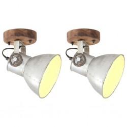 stradeXL Industrialne lampy ścienne/sufitowe 2 szt. srebrne 20x25 cm E27