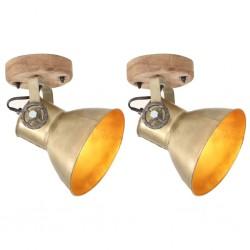 stradeXL Industrialne lampy ścienne/sufitowe 2 szt. mosiądz 20x25 cm E27