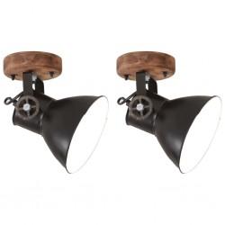 stradeXL Industrial Wall/Ceiling Lamps 2 pcs Dead Black 20x25 cm E27