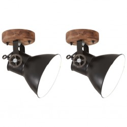 stradeXL Industrialne lampy ścienne/sufitowe 2 szt, czarne, 20x25 cm E27