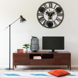 stradeXL Wall Clock Black 80 cm Metal