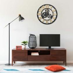 stradeXL Wall Clock Gold and Black 60 cm MDF