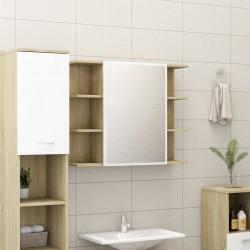 stradeXL Szafka łazienkowa, biel i dąb sonoma, 80 x 20,5 x 64 cm, płyta
